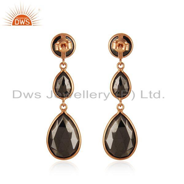 Suppliers Hematite Gemstone Rose Gold Plated 925 Silver Earring Wholesaler India