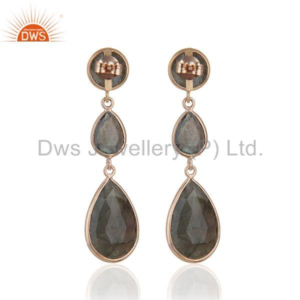 Suppliers Rose Gold Plated 925 Silver Labradorite Gemstone Earring Wholesale Jewelry