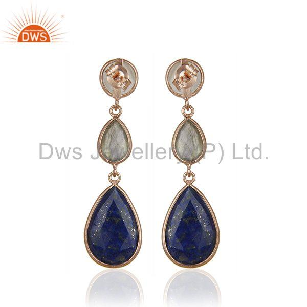 Suppliers Rose Gold Plated Solid 925 Silver Three Gemstone Dangle Earrig for Women Jewelry