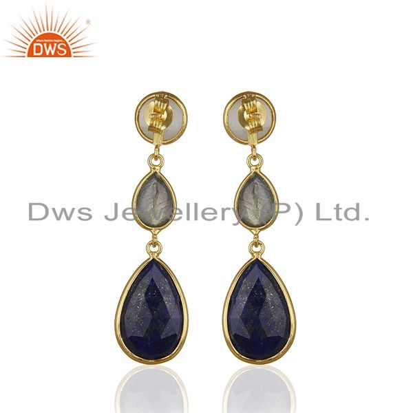 Suppliers 18K Gold Plated Sterling Silver Lapis Lazuli And Labradorite Dangle Earrings