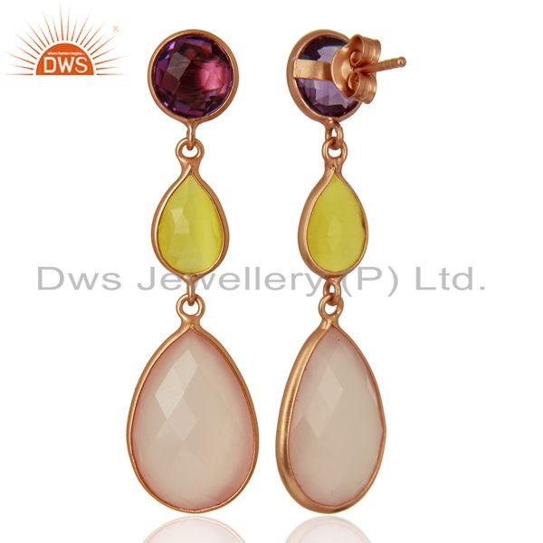 Suppliers Rose Chalcedony Gemstone Rose Gold Plated Silver Dangle Earrings