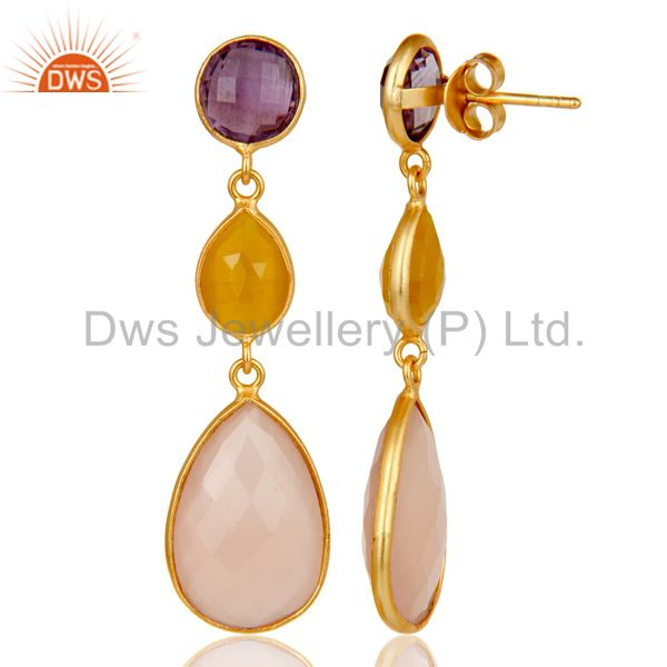 Designers Chalcedony, Amethyst & Moonstone 18k Gold Plated Sterling Silver Dangle Earrings