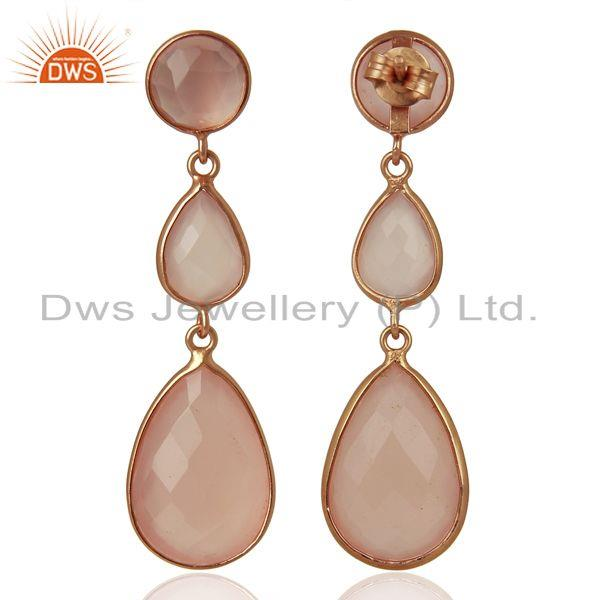 Suppliers 18K Rose Gold Plated Sterling Silver Rose Chalcedony Triple Drop Earrings