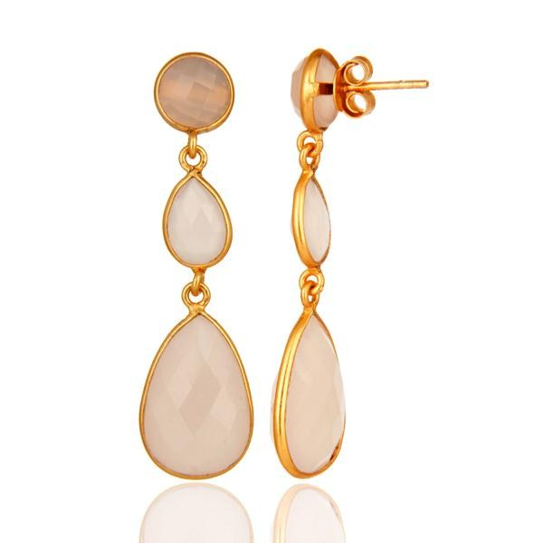 Designers Gold Plated 925 Silver Faceted Dyed Rose Chalcedony Bezel-Set Dangle Earrings