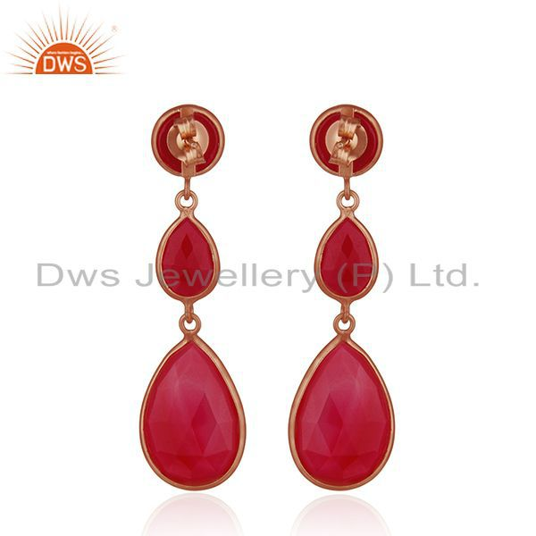Suppliers Rose Gold Plated 925 Silver Rose Gold Plated Silver Earrings Manufacturer India