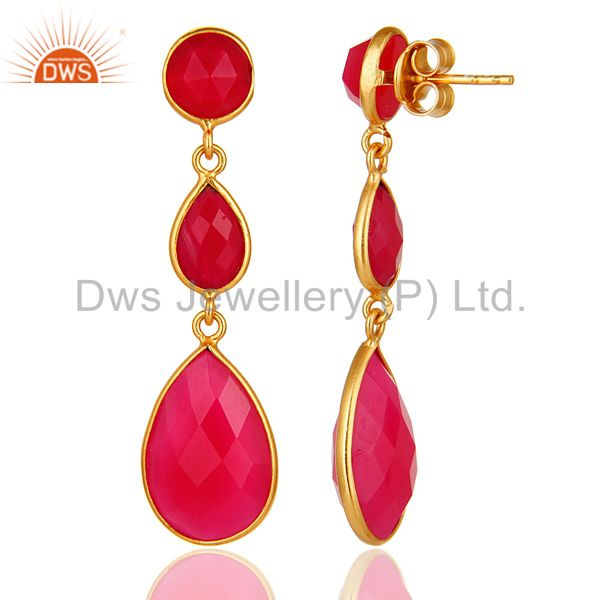 Designers Dyed Pink Chalcedony Bezel Set Drop Dangle Earrings in 18K Gold Plated Silver