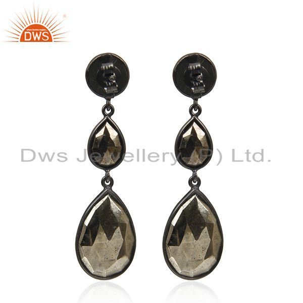 Suppliers Pyrite Gemstone Black Rhodium Plated 925 Silver Earring Wholesale