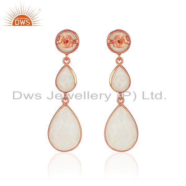 Designer of Drop earring in rose gold on silver 925 with rainbow moonstone