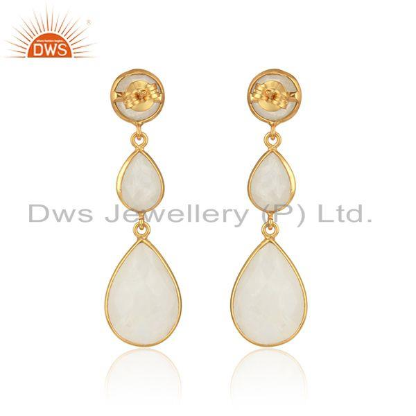 Designer of Drop earring in yellow gold on silver 925 with rainbow moonstone