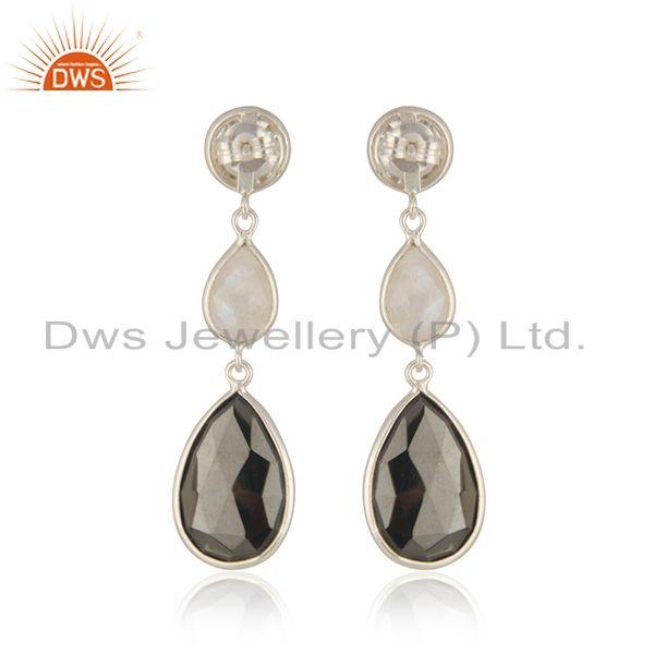 Suppliers Natural Multi Gemstone Fine Sterling Silver Dangle Earring Manufacturer India
