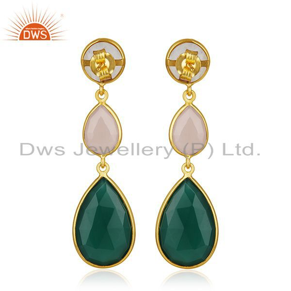 Suppliers 925 Silver Gold Plated Multi Gemstone Designer Earring Wholesale