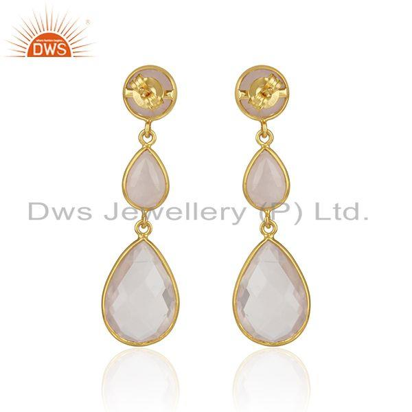 Designer of Double drop earring in yellow gold on silver 925 with rose quartz