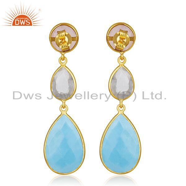 Suppliers Handmade 925 Silver Gold Plated Multi Gemstone Dangle Earring Jewelry Wholesale