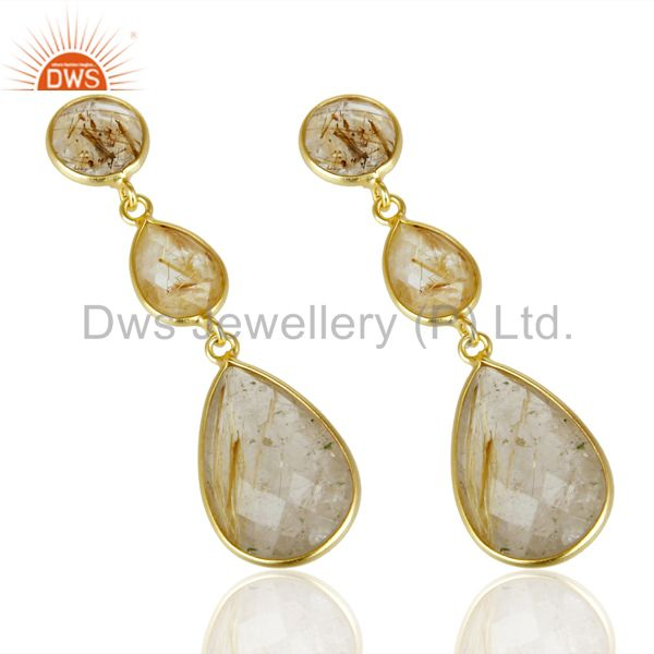 Suppliers 14K Gold Plated 925 Sterling Silver Golden Routile Quartz Bezel Set Earrings