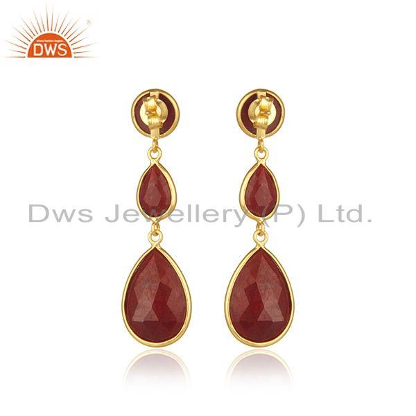 Suppliers Ruby Corundum Gemstone Gold Plated 925 Silver Dangle Earrings Suppliers