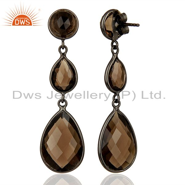 Suppliers Handmade Black Rhodium Plated Smoky Quartz Girls Earrings Supplier