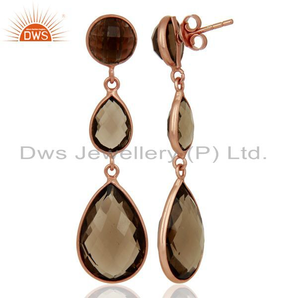 Wholesalers 18K Rose Gold Plated Sterling Silver Faceted Smoky Quartz Triple Drop Earrings