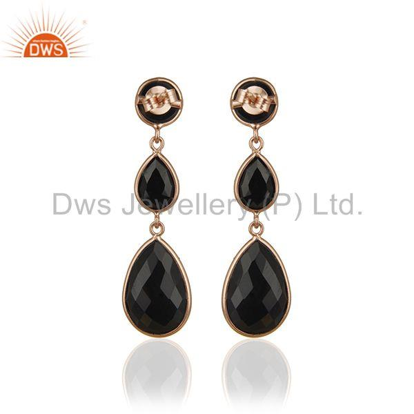 Suppliers Black Onyx Gemstone 925 Silver Rose Gold Plated Handmade Earring Suppliers