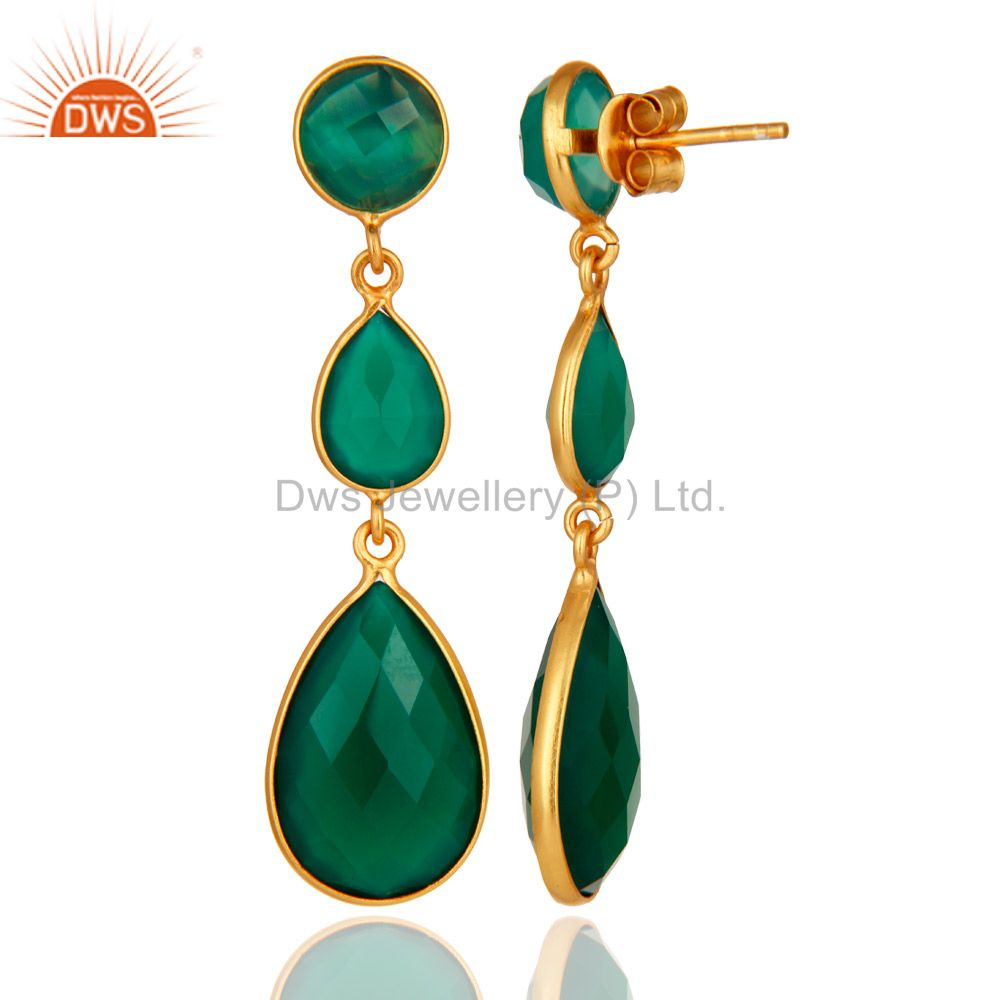 Designers 18K Gold Plated Sterling Silver Faceted Green Onyx Gemstone Dangle Earrings