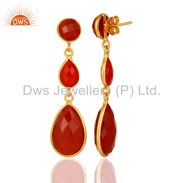 Designers Faceted Red Onyx Gemstone Yellow Gold Plated Sterling Silver Drop Earrings