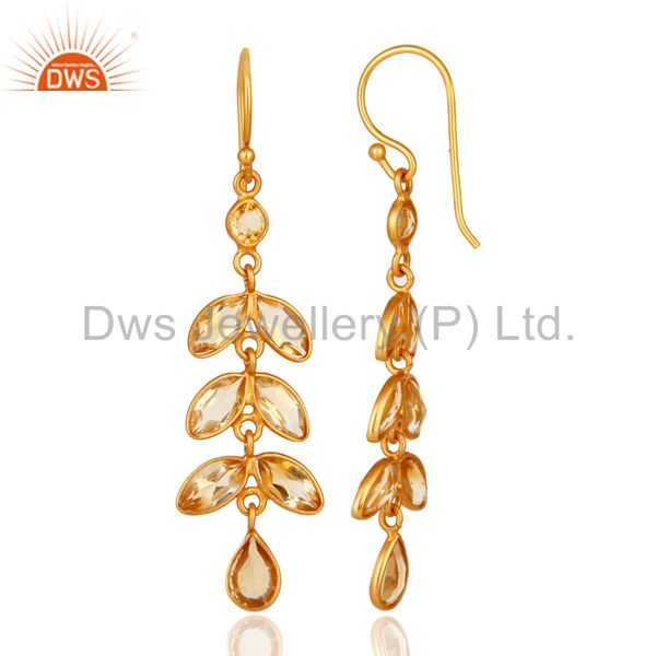 Designers 18K Yellow Gold Plated Sterling Silver Citrine Gemstone Leaf Dangle Earrings
