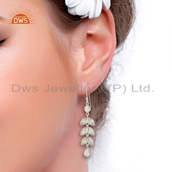 Suppliers Handmade Leaf Design Fine Silver Earrings Jewelry Manufacturer