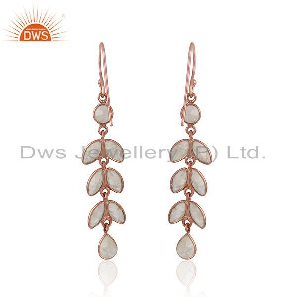 Designer of Dangle earring in rose gold on silver with rainbow moonstone