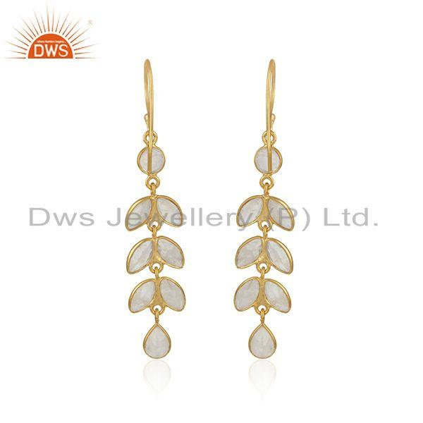 Designer of Dangle earring in yellow gold on silver with rainbow moonstone