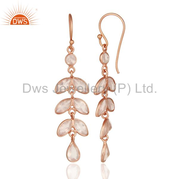 Suppliers 18K Rose Gold Plated Sterling Silver Rose Quartz Gemstone Dangle Earrings
