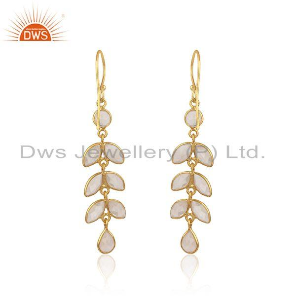 Designer of Leaf dangle earring in yellow gold on silver 925 with rose quartz
