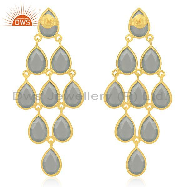 Suppliers Aqua Chalcedony Gemstone Gold Plated 925 Silver Earring Manufacturers