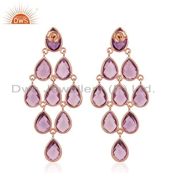 Suppliers Natural Amethyst Gemstone 925 Silver Rose Gold Plated Earrings Wholesale
