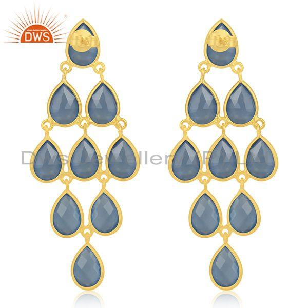Suppliers 925 Silver Handmade Gold Plated Blue Chalcedony Gemstone Earring Supplier