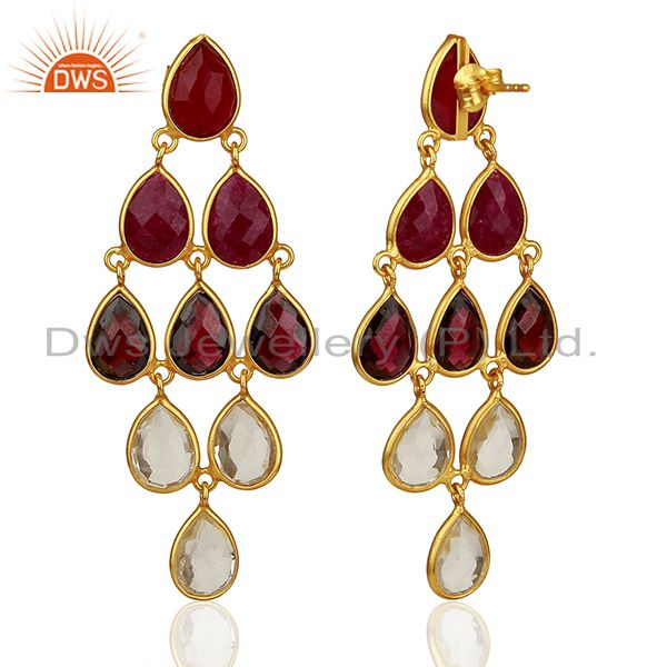 Suppliers Garnet Gemstone and Crystal 925 Silver Dangle Earrings Jewelry