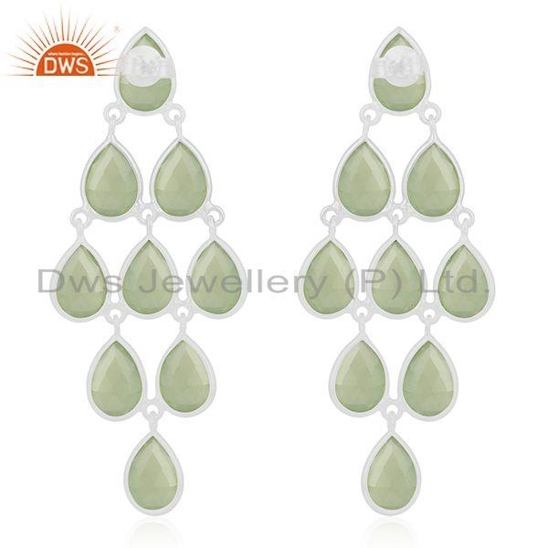 Suppliers 92.5 Sterling Silver Prehnite Chalcedony Gemstone Handmade Earring Wholesale