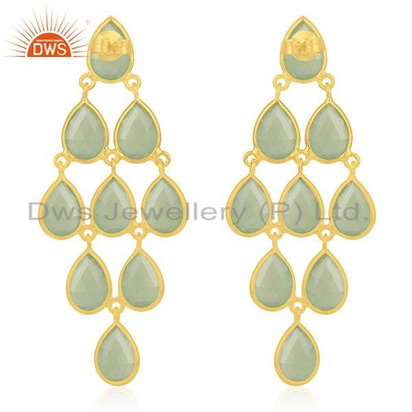 Suppliers Prehnite Chalcedony Gemstone 925 Sterling Silver Gold Plated Earrings Wholesale