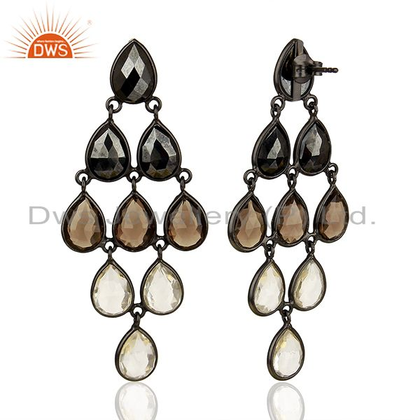 Suppliers Multi Gemstone 925 Silver Black Rhodium Plated Girls Earrings Jewelry