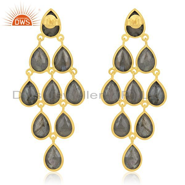 Suppliers Handmade Gold Plated 925 Silver Labradorite Gemstone Earring Supplier Wholesale