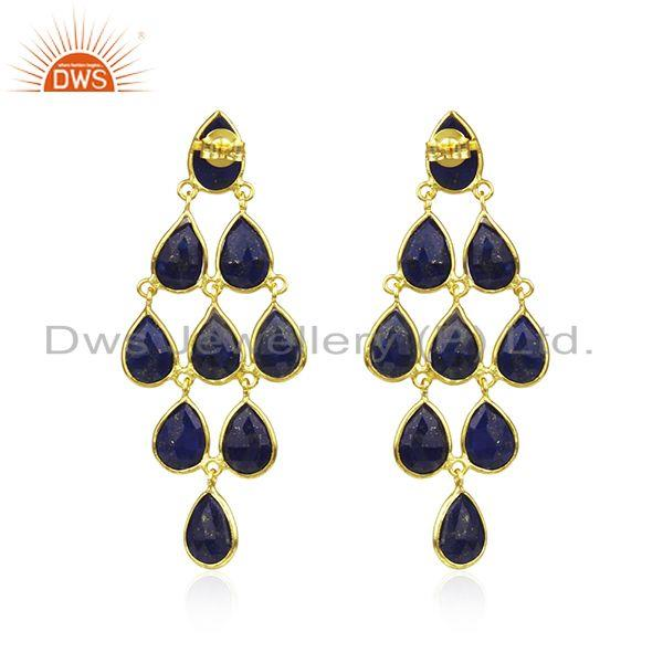 Suppliers Lapis Lazuli Gemstone Gold Plated 925 Silver Earrings Manufacturer