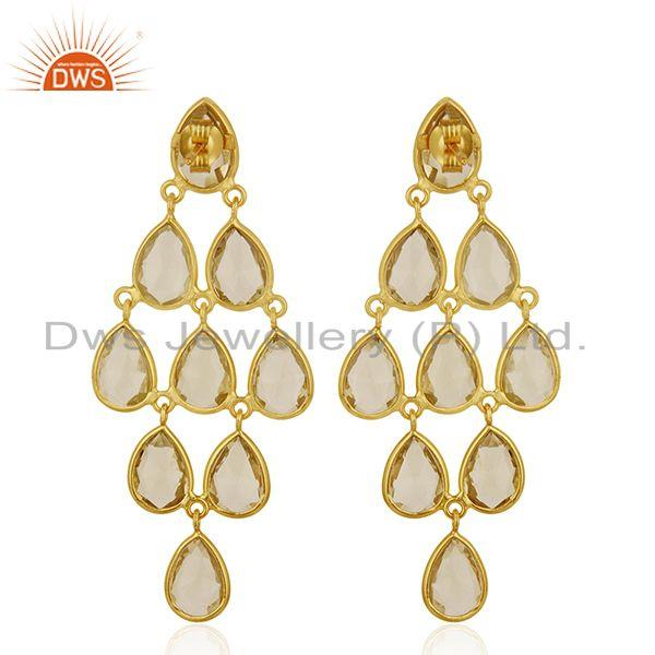 Suppliers Handmade Gold Plated 925 Silver Lemon Topaz Gemstone Dangle Earrings Manufacture