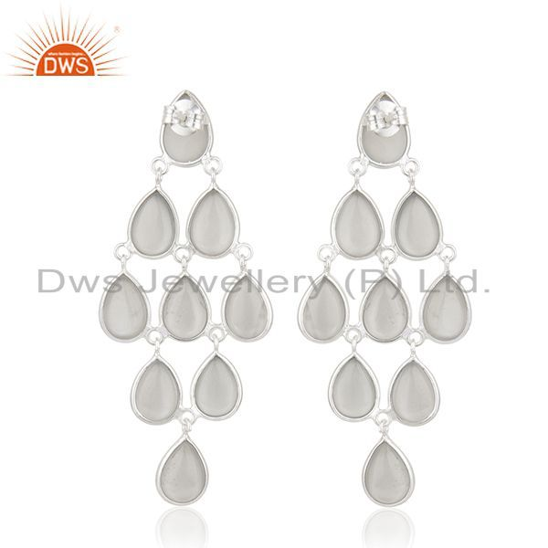 Suppliers Grey Moonstone 925 Sterling Silver Handmade Dangle Earrings Manufacturer India