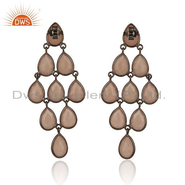 Suppliers Black Rhodium Plated 925 Silver Gemstone Earrings Manufacturer
