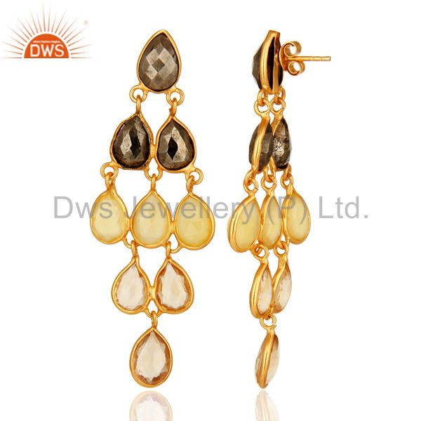 Designers 18K Yellow Gold Plated Sterling Silver Citrine And Chalcedony Chandelier Earring