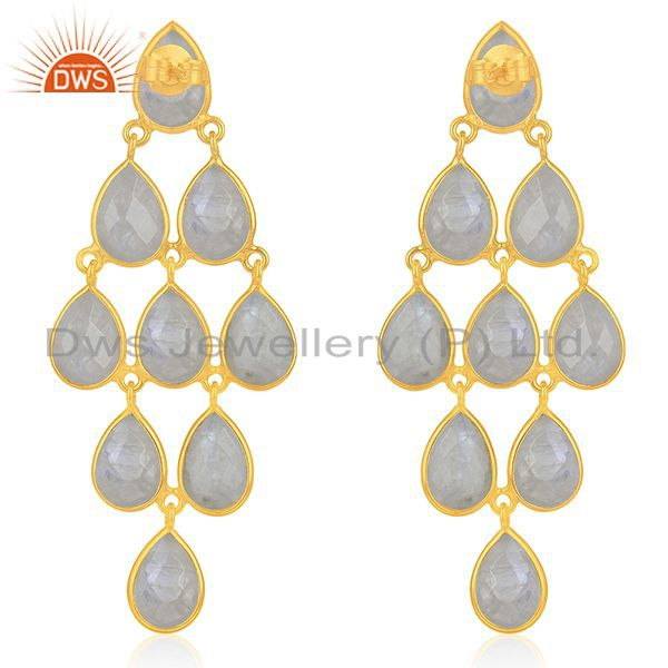 Suppliers Wholesale Rainbow Moonstone 925 Silver Gold Plated Earrings Wholesale