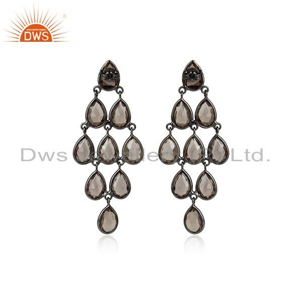 Designer of Rhodium plated silver smoky quartz gemstone earrings jewelry