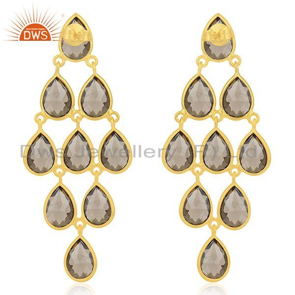 Suppliers Wholesale Gold Plated 925 Sterling Silver Smoky Quartz Earring Manufacturer