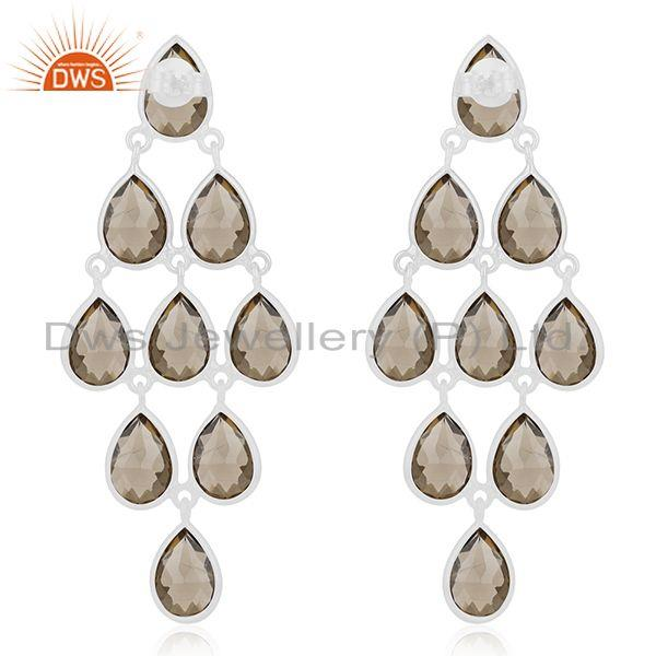 Suppliers 92.5 Sterling Silver Smoky Quartz Gemstone Dangle Earring Wholesale
