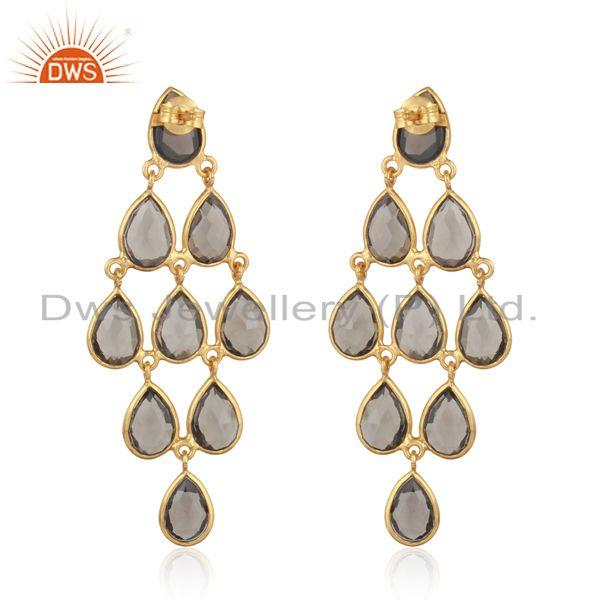 Designer of 18k yellow gold plated sterling silver smoky chandelier earring
