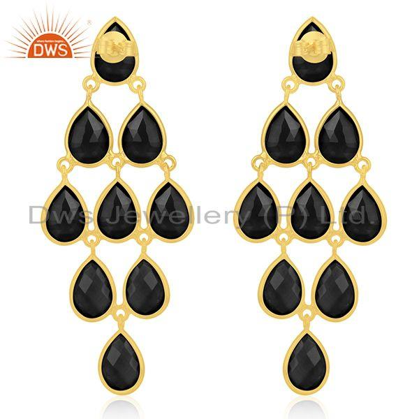Suppliers 14k Gold Plated 925 Silver Black Onyx Gemstone Earring Manufacturer