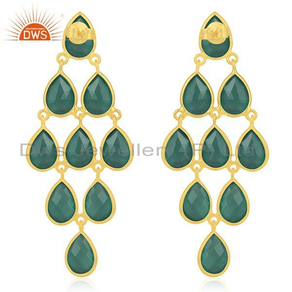 Suppliers Sterling Silver Gold Plated Green Onyx Gemstone Earring Manufacturer
